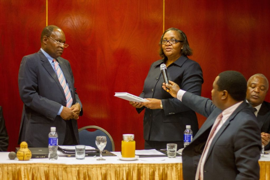 Pundutso Trans4m Workshop June 2016 Liz Mamukwa Handover Book to Minister Representative