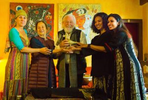 Handing over of the Peace Dove: From Rising Women Rising World (Chipo Chung and Rama Mani) to Peace Artist and Dialogue Conveners Paul Grant and Liliane de Toledo, with Artist Vera Koppehel
