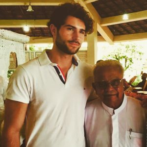"Moritz Merz with Sarvodaya's Founder, Dr. A.T. Ariyaratne (often dubbed as the ""Gandhi of Sri Lanka"") on his 85th birthday"