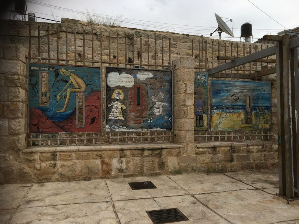 2018 11 29 Ramallah Tamer Institute Workshop Courtyard Artwork 1