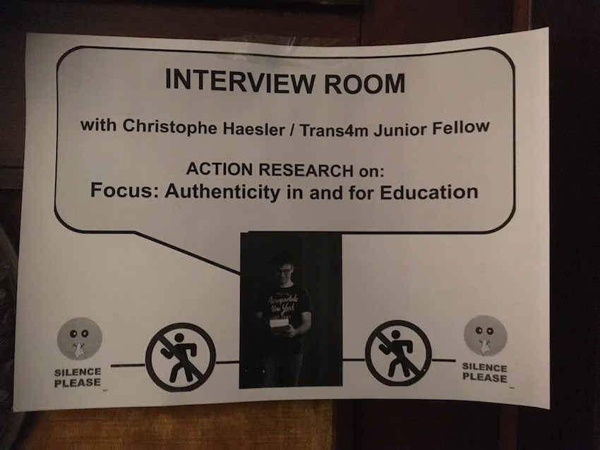 2019 04 08 Integral Development Course 2019 at H4H Action Research Interview Room Christophe Haesler