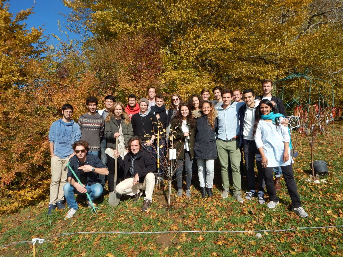 "Group of Students of the ""Becoming an Agent of Transformation"" Course (University of St. Gallen), a course jointly taught with Dr. Rama Mani: After planting a tree at Home for Humanity"