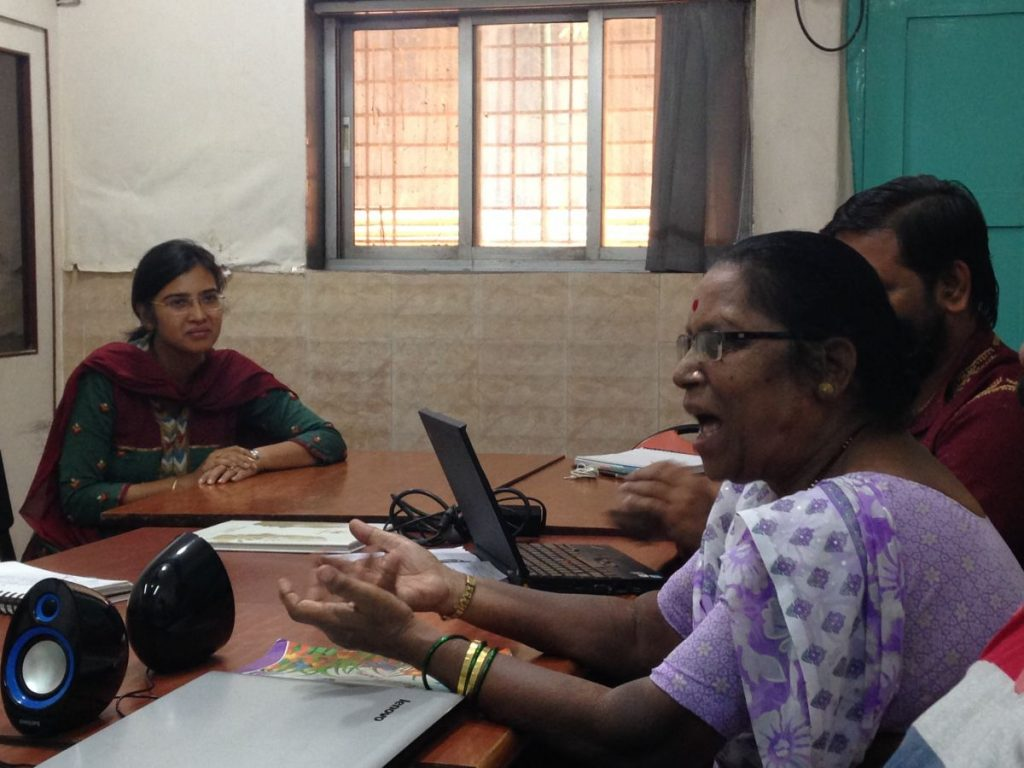 One of CORO's veteran community activist, Mrs. Biju Bhosle, expressing her views on Grassroots Leadership (Trans4m Coro Workshop, June 2016)