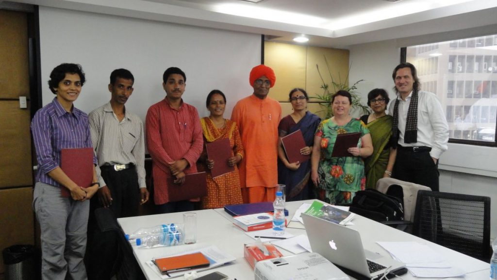 Jean Parker Impact Forum Care Award Group Picture with Swami Agnivesh and Meera Seethi