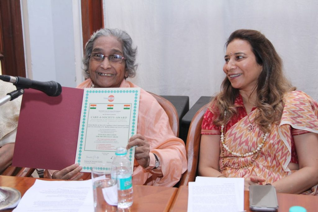 Sister Gaitonde and Dr. Radhike Khanna receiving the Trans4m CARE-4-SOCIETY Award (June 2016)