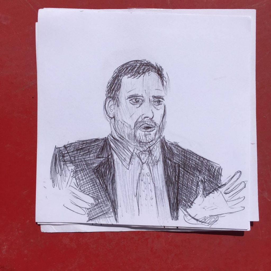 2017 04 10 ID Course Drawing by Victor Morgan of WTO speaker Raul Torres