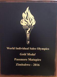 Passmore Matupire 2017 SMI Individual Sales Olympics Medal