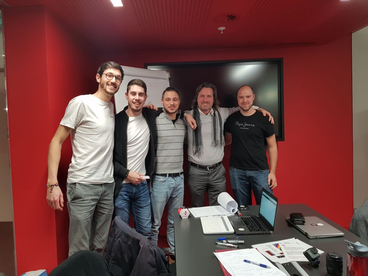 Nostras Team with Maxime Bertocchi and Alexander Schieffer in Sion in 2017
