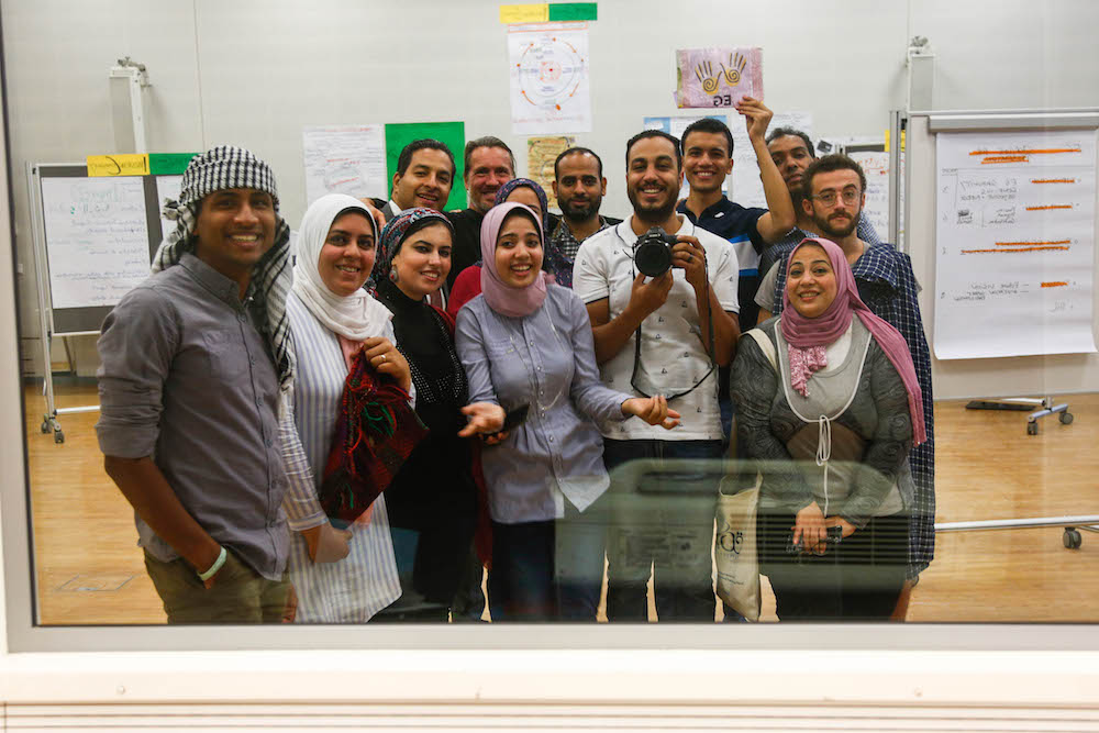 2019 10 19 Egypt Cairo Egyptian Genius Workshop Full Group Selfie with Islam